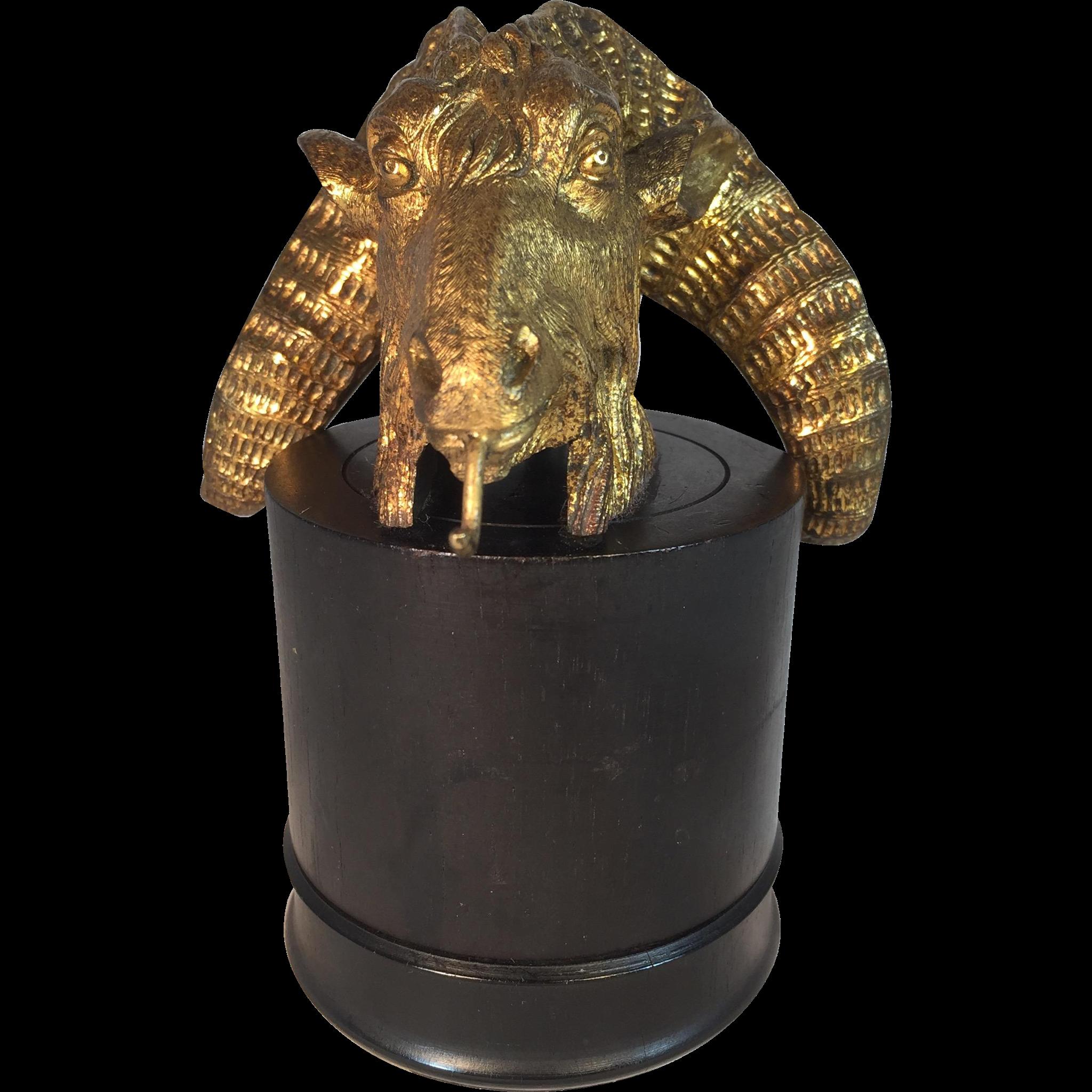 Gilded Bronze Ram Pocket Watch Holder