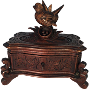 Black Forest Footed Box with Bird Decoration
