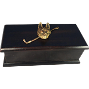 Ebony Box with Painted Bronze Fox Head and Riding Crop