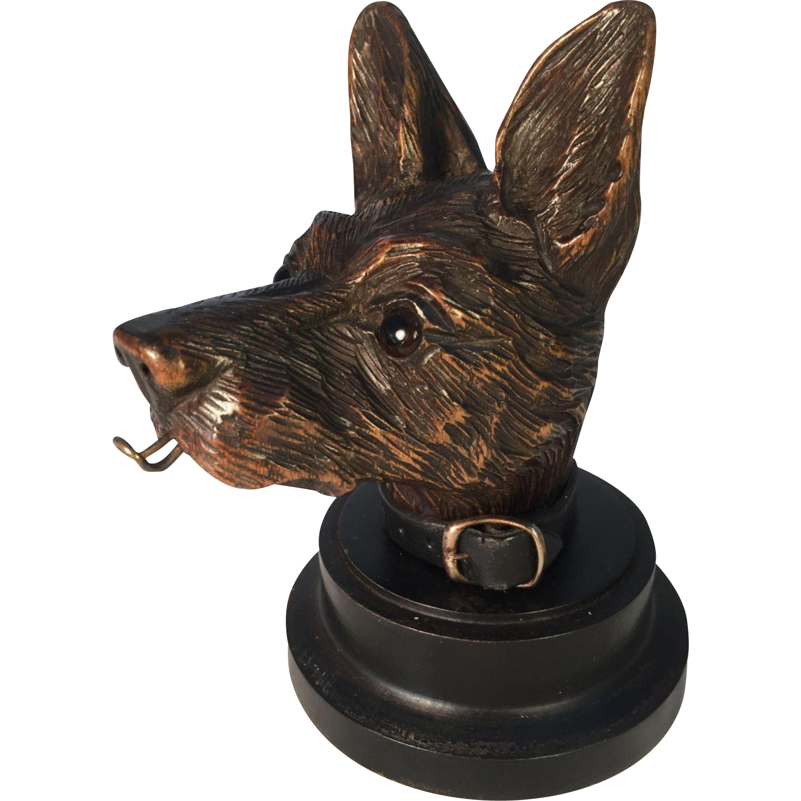 Black Forest Dog Pocket Watch with Leather Collar
