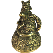 Nodding Cat Brass Bell with Kittens