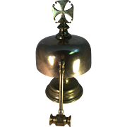 Large Brass Table Bell with Brass Gong