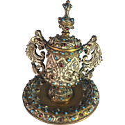 Austria-Hungarian Bronze Ink Well with Crystal Jewel Decoration.