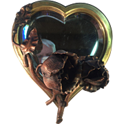 Art Nouveau Heart Shaped Brass Mirror with Copper Flowers