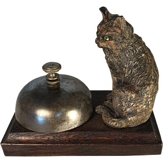 Victorian Desk Bell with Painted Metal Cat