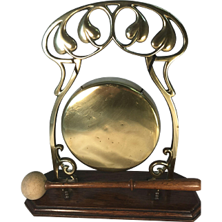 Brass and Wood Art Nouveau Gong