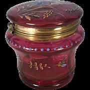 Victorian Cranberry Glass Dresser Jar