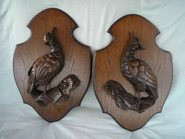 Pair Black Forest Game Bird Plaques