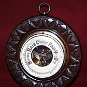Hand Carved English Mahogany Aneroid Barometer --1900c
