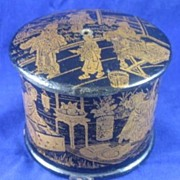 Papier Mache' String Box with Oriental Decoration