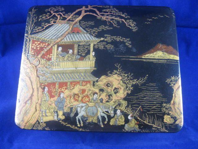 Papier Mache' Box with Oriental Scene on Lid