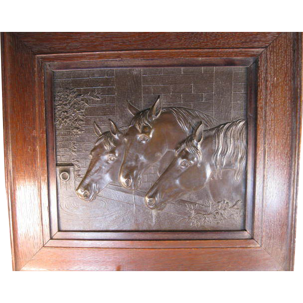 Bronze Horse Plaque - Horses at a Watering Trough