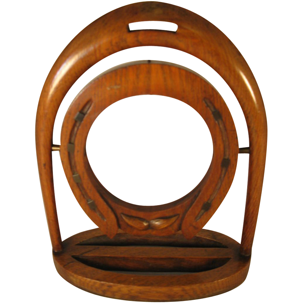 English Oak Horseshoe Pocket Watch Holder