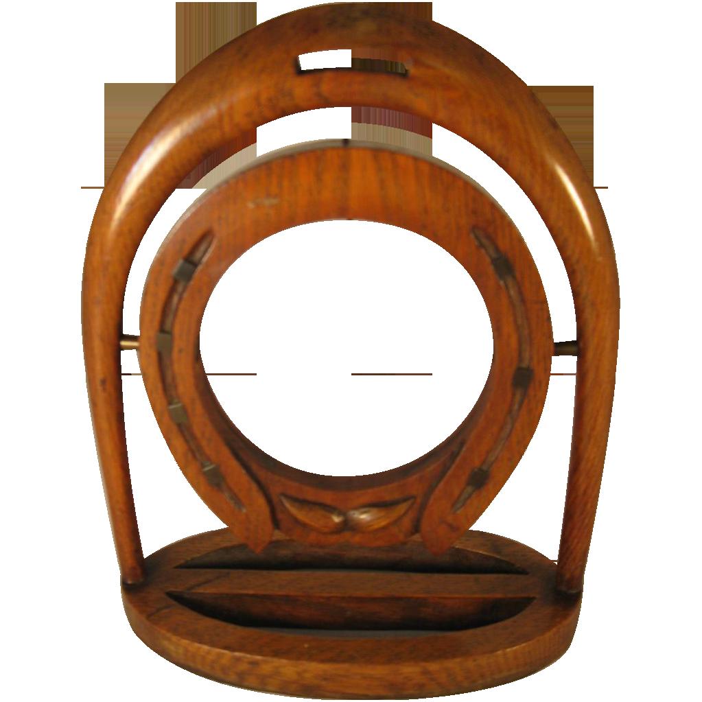 English Oak Horseshoe Pocket Watch Holder