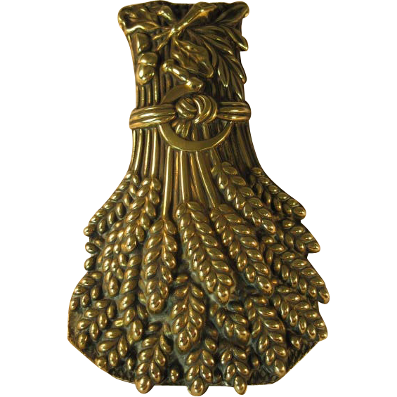 English Brass Wheat Sheaf Paper Clip/ Letter Holder