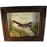 German Bas Relief Picture of a White Wagtail in Black Forest Frame