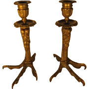 Pair of Bronze Bird Leg and Claw Candle Sticks