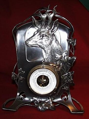 German White Metal Aneroid Desk Barometer with Deer Head - c1906