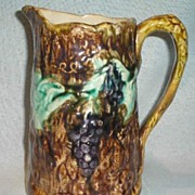 Majolica Pitcher with Grape Decoration
