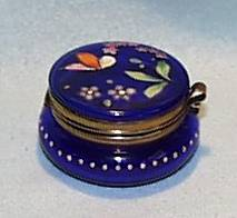 Cobalt Hinged Glass Box with a Hand Painted Lid