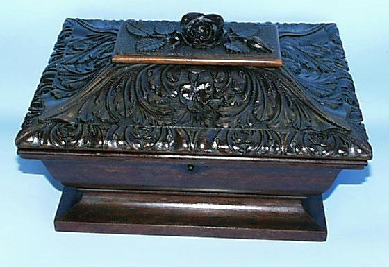 Black Forest Hand Carved Box with Key.