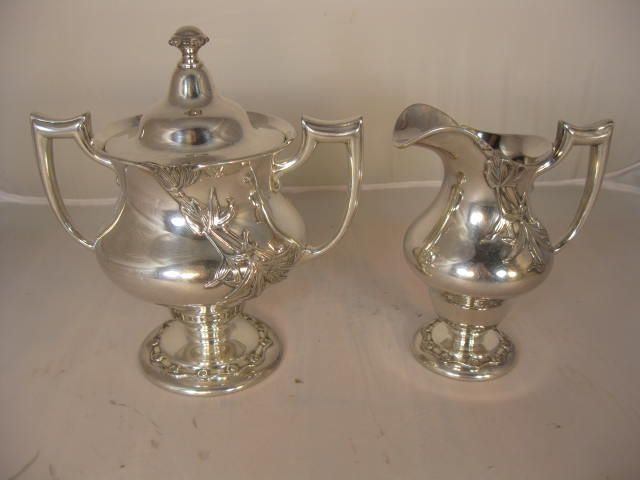 Victorian Silver Plate Cream and Sugar