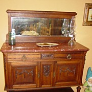 Beautiful Marble Top Desert Server Hutch Sideboard
