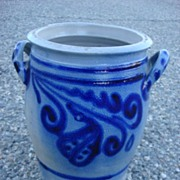 French Antique Salt Glaze Cobalt Jar Antique Vase