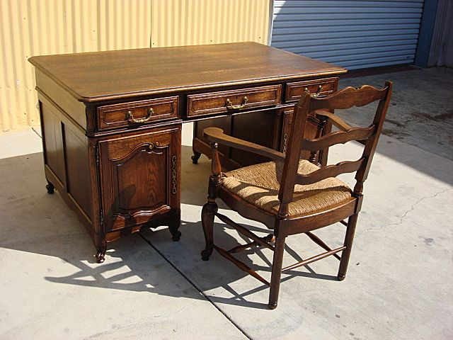 French Antique Desk and Office Chair Louis XV Antique Furniture