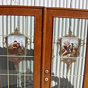 Pair of French Antique Leaded Glass Hand Painted Doors
