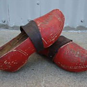 Pair of Original Dutch Antique Wooden Shoes