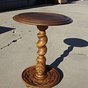Vintage Oak French Pedestal Stand Lamp Stand Round Table Plant Stand