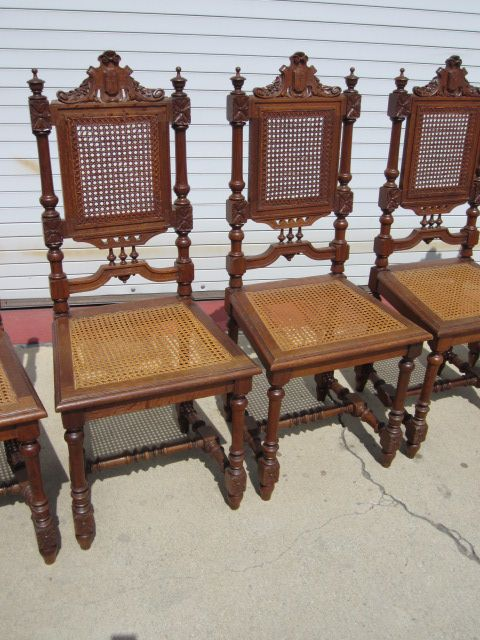 Set of 6 french antique dining room chairs french antique for Antique dining room sets