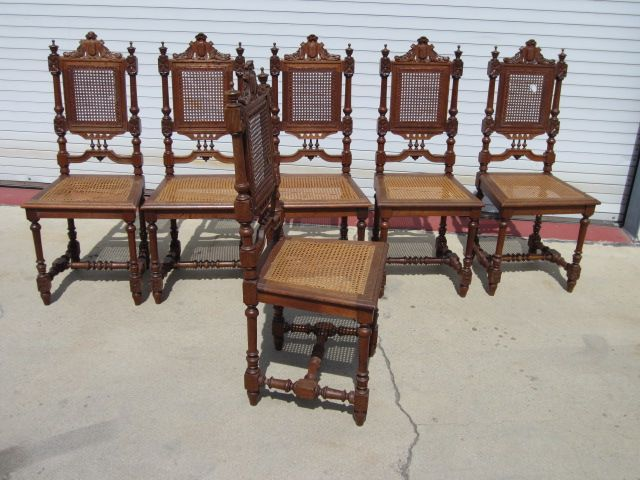 Set of 6 French Antique Dining Room Chairs French Antique