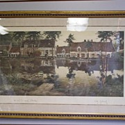 Large Beautiful Original 1904 Lithograph by Flemish Master Victor Oliver Gilsoul Nautical French