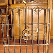 French Antique Wrought Iron Hand Forged Iron Gate Window Gate Wall Ornament