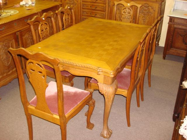 Carved 7pc Chippendale Dining Set Table & Chairs