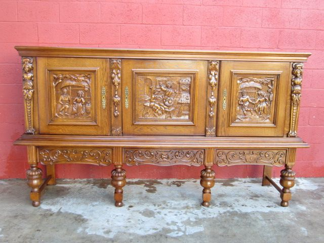 Carved Antique Sideboard Carved Antique Cabinet Antique Furniture