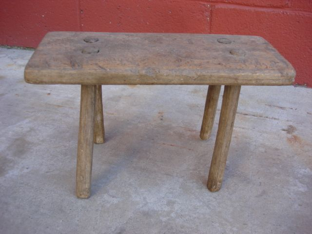 French Primitive Antique Milking Stool Antique Foot Stool Bench Antique  Furniture - French Primitive Antique Milking Stool Antique Foot Stool Bench