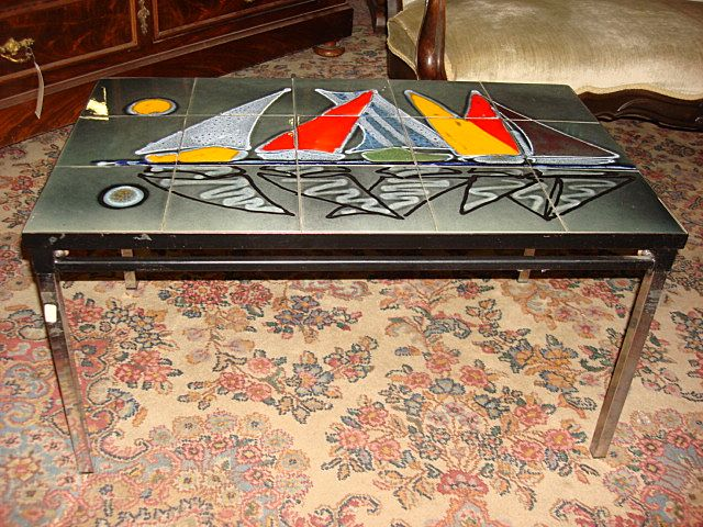 Original Dutch Chrome Tile Top Coffee Table Retro modern - Original Dutch Chrome Tile Top Coffee Table Retro Modern From