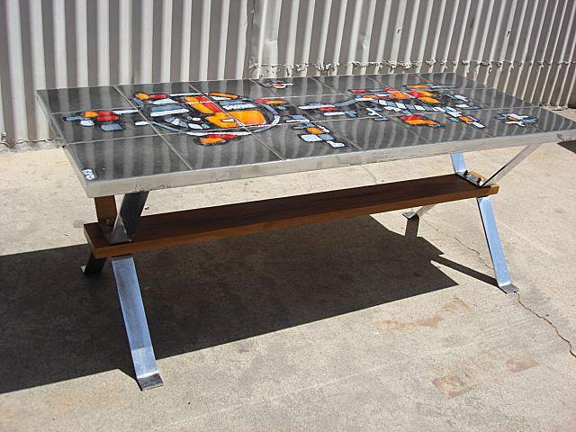 vintage danish modern tile top chrome coffee table sold on ruby lane