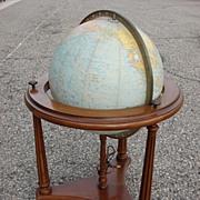American Vintage Replogle Glass Globe Lighted Glass Globe Floor Globe
