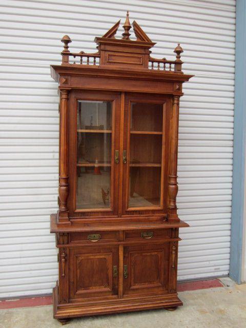 Antique German Bookcase Antique Hutch Sideboard Cabinet Cupboard Antique Furniture