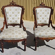 American Antique Victorian Chairs Parlor Chairs Pair Antique Furniture