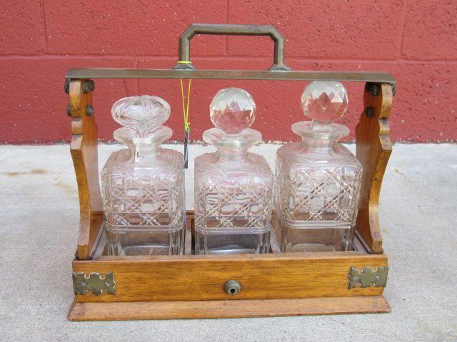 Victorian Antique Tantalus Liquor Decanter Crystal Liquor Decanter Stand