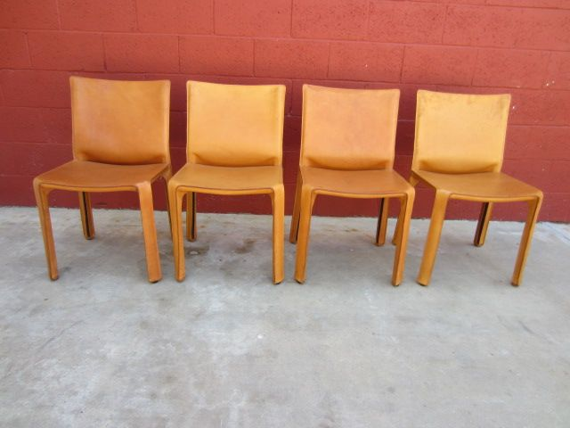 Set Of 4 Original Cassina Cab Leather Side Chairs Italian Furniture