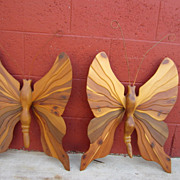 Pair of Mid Century Post Modern Wall Art Butterflies Eames Era Butterfly