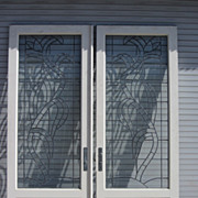 Pair of Leaded Glass Doors Architectural French Doors