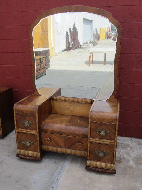 American Vanity Dresser Art Deco Waterfall Bedroom Furniture - American Vanity Dresser Art Deco Waterfall Bedroom Furniture SOLD