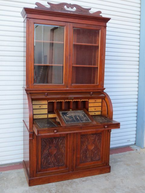 Antique Cylinder Desk  Antique Barrel Desk Bookcase Antique Furniture